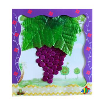 贴画 儿童手工制作玩具 eva钻石纽扣立体贴纸 幼儿园手工材料包 葡萄