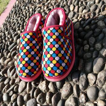 男女保暖棉鞋手工家居月子毛毛鞋防滑包跟老人拖鞋 可爱表情包跟款 40图片