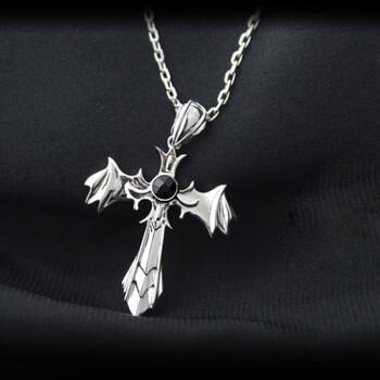 瑞诺925纯银十字架项链 男款 恶魔翅膀吊坠 男士项链镶磁石 时尚保健