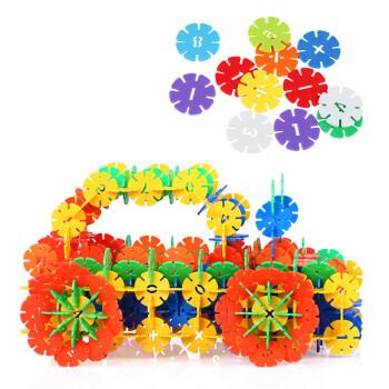 贝恩施儿童雪花片积木 3d拼图 立体拼图 拼插玩具 汽车建筑模型拼装玩