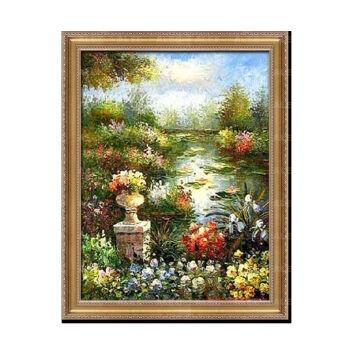 三联油画天鹅湖风景客厅美式欧式手绘卧室壁画装饰画餐厅挂画玄关sn图片
