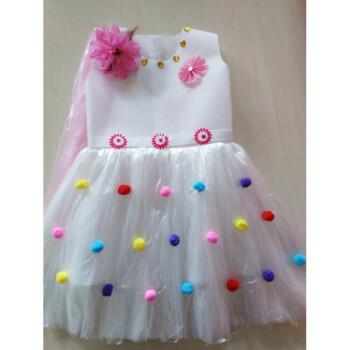 儿童环保演出服装无纺布塑料袋手工制作衣服时装走秀子装公主裙 白色