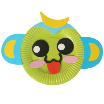 彩色纸盘画儿童手工制作材料包幼儿园贴纸盘子吊饰 猴子
