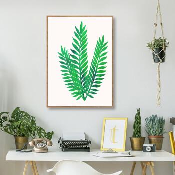 onna)北欧风玄关装饰画绿色植物客厅挂画沙发背景墙画龟背竹挂画风格图片