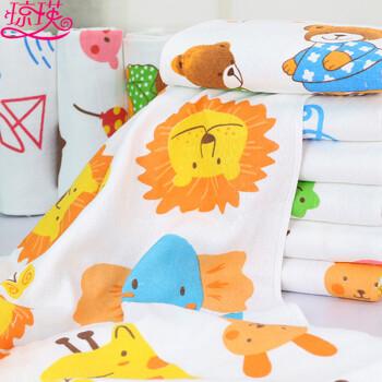 新款双层蜂巢纱布儿童卡通浴巾毛巾 开心动物园 随机发货图片