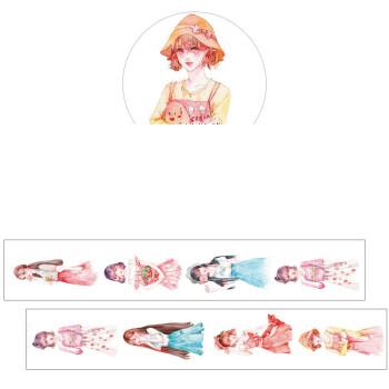 纸染人物款手账和纸胶带整卷 手绘小清新水彩手帐diy彩色装饰贴纸