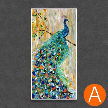优雅的孔雀手绘动物油画新品玄关过道刀画走廊竖款大巨幅装饰挂画sn