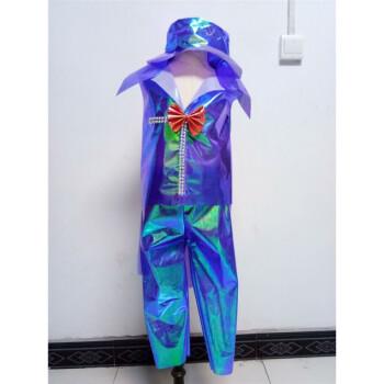 儿童服手工制作时装秀演出服幼儿园服装男亲子走秀礼服 宝蓝色无袖