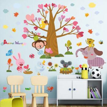 时光旧巷 宝宝贴纸墙画可爱动物房墙贴早教卡通幼儿园墙面装饰贴画