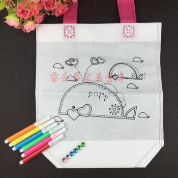 儿童手工制作涂色绘画材料填色玩具暑期幼教di环保袋涂鸦包 翠绿色 小