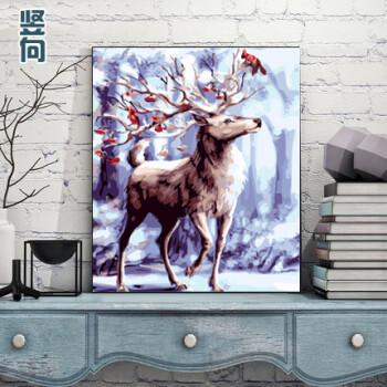 画填色动物装饰画雪景 6316踏雪鹿 50*65亮光款(绷好内框) 画布颜料画