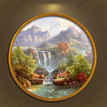品牌欧式手绘油画风景圆形装饰画玄关新中式小鹿山水瀑布美式聚宝盆