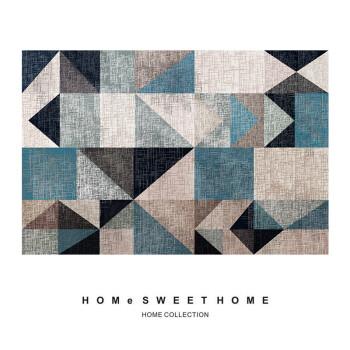 简约现代几何图案北欧客厅地毯卧室床边地毯榻榻米长方形可定制sn7217图片