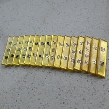 金色浮雕亚克力工号牌 酒店餐厅工作牌 店长收银员经理保洁员职位胸章