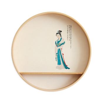 实木圆形禅意挂画新中式入户玄关装饰画现代餐厅茶室创意水墨壁画 4
