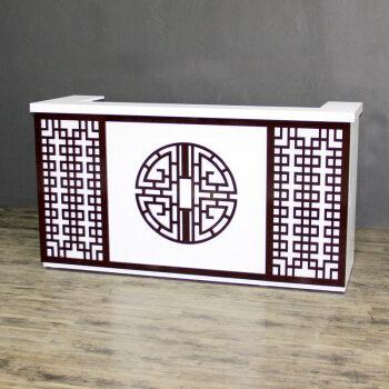 新中式雕花收银台烤漆白色柜台中医养生馆足疗店面馆接待台小吧台定制