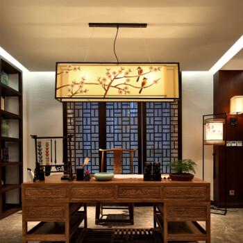 新中式吊灯客厅餐厅茶室长方形古典简约创意铁艺吧台前台中式灯具 长图片