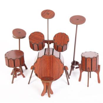 礼物 儿童手工玩具diy制作3d立体拼图幼儿园礼品拼装拼板乐器 红木