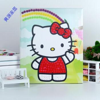 开学季礼物儿童手工制作diy粘贴纽扣画材料包创意a 西瓜红 kitty猫