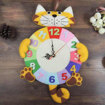 美式钟表创意织布时钟数字手工小老虎材料挂钟钟表英寸台式创意卧室