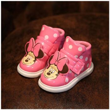 冬季新款韩版童鞋卡通小可爱儿童雪地靴中小童米老鼠宝宝鞋子潮粉色