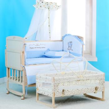 童健婴儿床实木多功能无漆BB床宝宝床可加长可变书桌带摇篮置物台 婴儿床(不包含床品)