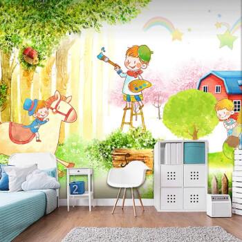 卡通可爱动物世界墙纸儿童房幼儿园教室壁画手绘童话森林乐园壁纸