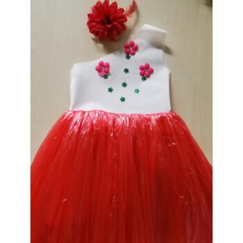 儿童环保演出服装无纺布塑料袋制作衣服时装走秀子装公主裙 白加红单图片