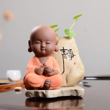 可爱小和尚迷你小花器水培花瓶创意茶宠摆件可养茶桌茶具花生 静瓶