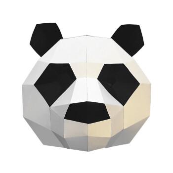 抖音同款网红面具熊猫头套动物面具折纸派对布置店铺装饰道具创意纸模