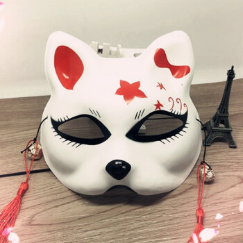 开罗 半脸猫面具手绘抖音同款日式和风狐狸动漫男女猫