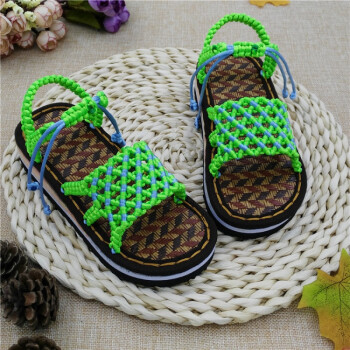 鞋底儿童凉鞋拖鞋中国结线编织男女孩手工鞋成品居家材料包 满天星果