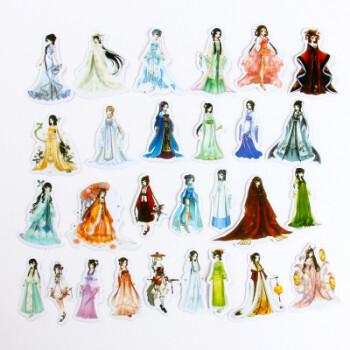 创意中国风城市手绘女孩贴纸包手账相册diy装饰贴文具