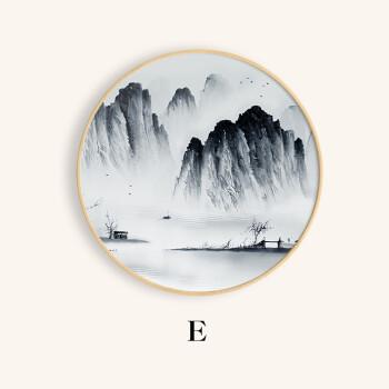 新中式装饰画客厅圆形挂画禅意水墨壁画 框山水画玄关图片