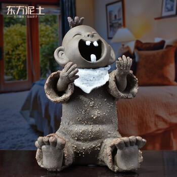 东方泥土德化陶瓷手工制作创意可爱小孩客厅书房桌面