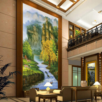 贴画墙纸壁画客厅书房山水风景画无缝自粘壁纸 山川流水发财树/平方米