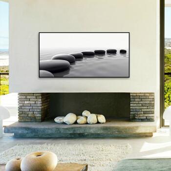 天画现代黑白装饰画有框画客厅书房办公室餐厅墙画壁画挂画石头 白色