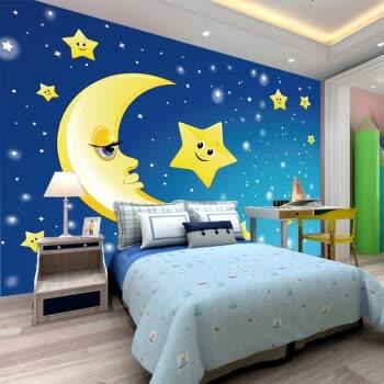 儿童房间卧室卡通3d背景墙纸壁布男孩女孩公主房温馨星空墙纸 拼接
