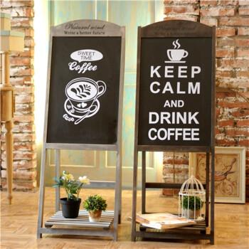 美式乡村田园复古黑板咖啡馆支架立式广告服装店铺装饰 灰色