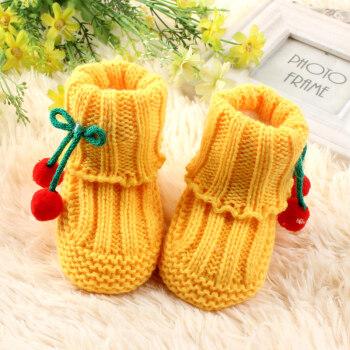 秋冬手工婴儿男女宝宝学步高帮鞋儿童针织春手工编织毛线短靴 加绒小