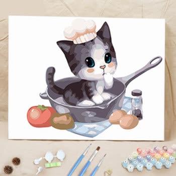 创意diy数字油画动漫卡通动物萌宠儿童手绘填色油彩装饰画茶杯猫 gx
