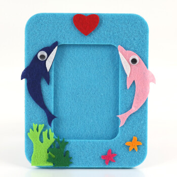 幼儿园创意手工diy制作材料包不织布相框儿童无纺布刺绣布艺相框 蓝色