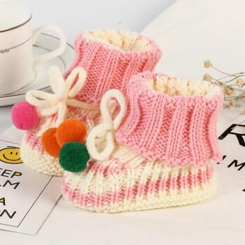 手工编织婴儿鞋0-12个月毛线宝宝袜子可爱新生儿地板袜婴幼儿鞋袜