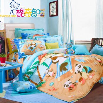 富安娜家纺 酷奇智 儿童四件套 卡通纯棉床单被套 全棉床品 快乐奶爸 蓝色 1.5米(5英尺)床