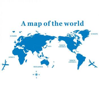 创意亚克力3d立体世界地图公司文化办公室墙贴纸客厅装饰贴画 全蓝色