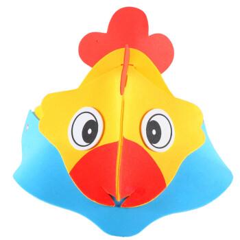 儿童卡通小动物头饰头套表演区道具幼儿园老鼠大灰狼小鸡兔子帽子 eva