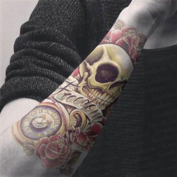 念凝防水纹身贴男持久半臂仿真刺青花臂骷髅头贴纸女图片