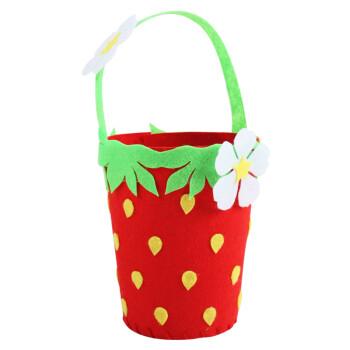 不织布花篮 eva儿童手工编织花篮子 草莓款