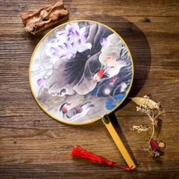 古典古风团扇子汉服宫扇手绘复古宫廷团扇简约时尚中国风文艺女扇送