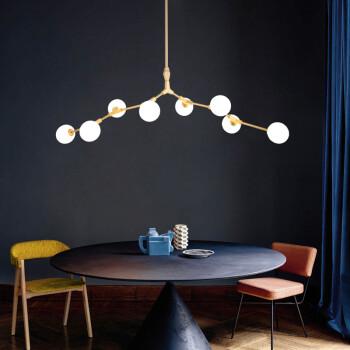 北欧风格吊灯树枝分子吊灯样板房客厅餐厅玻璃球吊灯后现代吊灯 9头金色【直径130*高35cm】